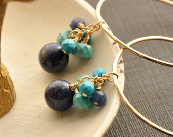 Turquoise Hoop Earrings, Lapis Lazuli Earrings, Blue Lapis Earrings, Turquoise Jewelry, Blue Drop Earrings