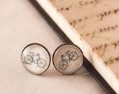 BIKE Earrings, BICYCLE Earrings, Bike Studs, Bicycle Studs, Gift For Her, Glass Bike Earrings, Bike Lover Gift, Biker Gift, Vintage Bicycle