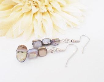 Gray Shell Earrings, Mother of Pearl, Natural Earrings, Silver Earrings, Clip On, Gift for Women, Jewelry Under 20, Beaded Earrings, Dangles