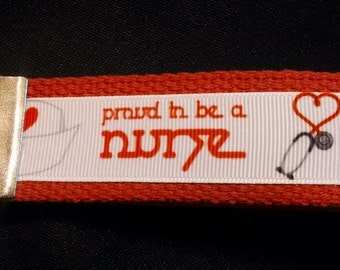 Proud to be a Nurse Key Fob on Hot Pink