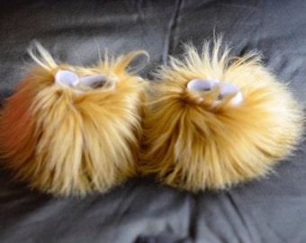 Camel Tan Fluffy Wrist And/Or Ankle Cuffs