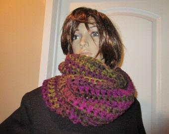 Oversize Cowl  Eggplant  Cowl Neck Warmer Hood Hand Crochet  Very Stunning