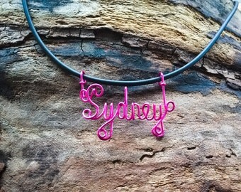 Hand Crafted Wire Name Pendant (with a free necklace)