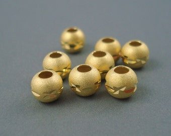 6MM Gold Fill Etched Beads, 8 Pieces