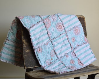 Baby Rag Quilt Blue and Pink Floral-FREE SHIPPING