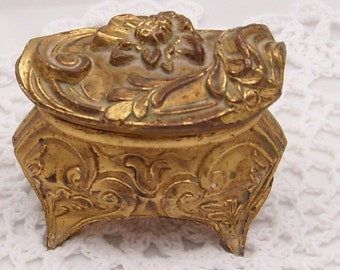 Vintage Art Nouveau Metal Footed Jewelry Box