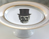 Gold or Silver Top Hat Skull Wedding Cake Stand, Skull Cake Stand, Halloween Cupcake Stand, Monogram Tray, Tidbit Tray, Design Your Own