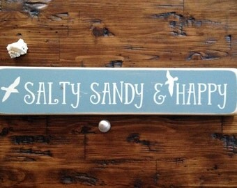 READY TO SHIP Salty Sandy And Happy Distressed Wood Sign