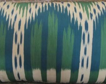 F. Schumacher  Designer Pillow Cover - Bukhara Large Ikat Emerald and Peacock