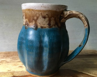 Contemporary Ceramic Mug - Handmade Pottery Stoneware Mug - Turquoise Mug - 20 Ounce Coffee Mug - Pottery Coffee Mug