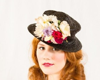 25% OFF SALE / 1940s vintage hat / tilt hat / Wild Bouquet