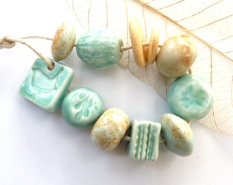 Ceramic beads ~ 8 handmade beads, 2 ceramic washers, 1 bird charm, turquoise cream, porcelain jewelry components, clay bead, unique set