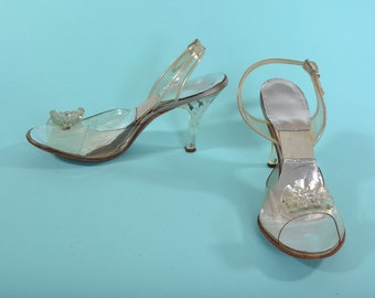 Vintage 1950s Lucite Wedding Shoes - Cinderella Glass Slipper - Rhinestone Bridal Fashions