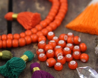 Orange Zest : Large Orange White Heart African Glass Beads, 8x6mm, Boho Jewelry Making Supplies, Spacer Beads, Autumn, Fall, Halloween Color