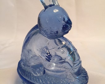 Blue Glass Bunny Rabbit Covered Dish