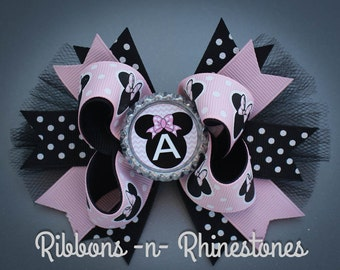 Minnie Mouse Boutique Bow, Pink and Black Minnie Mouse Bow, Minnie Mouse Bow, Minnie Mouse Birthday Bow, Minnie Mouse Personalized Bow