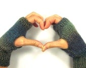 Ombre Fingerless Gloves Knitted Mittens Bike Gloves Texting Mitts Handwarmers for Teen Girls Women Small Medium One of a Kind Accessory