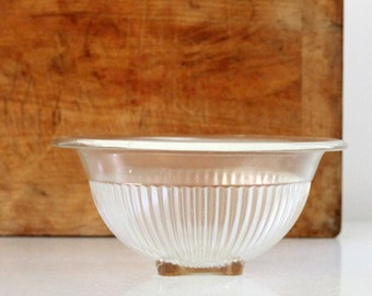 Depression glass bowl, vintage Federal clear glass mixing box, kitchen decor