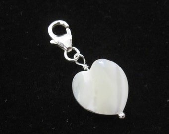 White shell MOP Mother of Pearl HEART bead sterling silver clip on charm pendant, fits link bracelet