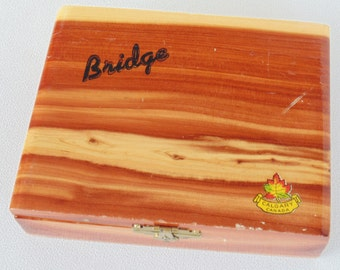 Double Bridge Card 2 Complete Sets In Beautiful Wooden Box With Brown & Bigelow Old Advertising Edward J Marsh Deer Lodge Montana VERY NICE