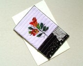 Any occasion card, red flowers, for women, for men, fabrics postcard, unique card, one of a kind card, botanical, textile art