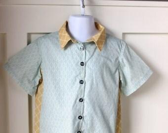 Aqua Diamond Print Bowling Shirt Size 3