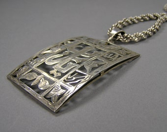 Chinese Character Pendant, HUGE Statement Necklace, Sterling Silver, 835 Silver Chain, Vintage Asian, Japanese, Ethnic Jewelry
