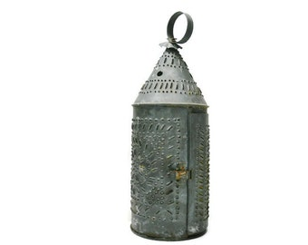 Vintage Punched Tin Lantern - Pierced Revere Style Tin Candle Holder 15 Inch