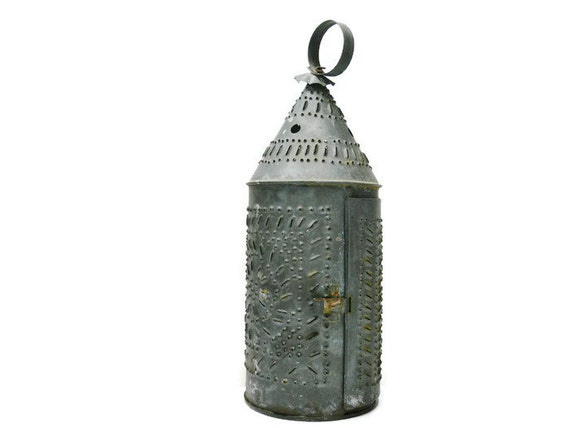 Vintage Punched Tin Lantern Pierced Revere Style Tin Candle