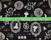 Alice in Wonderland Kokka - Alice Silhouette Black - BTY cotton fabric - Japanese - Choose your cut