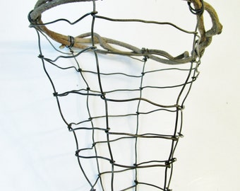Wire Art Basket Sculpture -- Handmade Nature Inspired With Vine Top