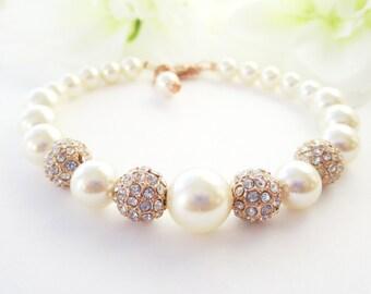 Pearl Bracelet- Rose Gold Pearl Bracelet- Swarovski Pearl Bracelet,Rose Gold- Wedding Jewellry, Rose Gold Bridal Jewelry-Rhinestones- Amelia