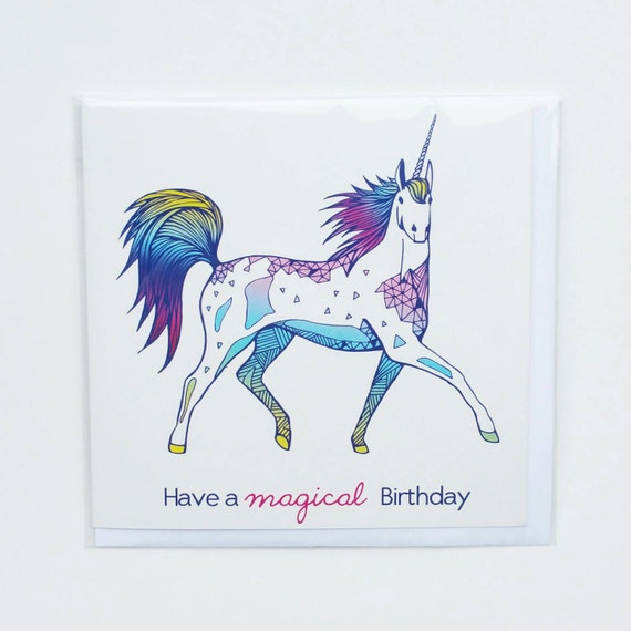 unicorn birthday card unicorn card kids by clarecorfieldcarr, Birthday card