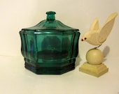 Teal Green Indiana Glass Concord Pattern Octagon Covered Candy Dish Vanity Jar