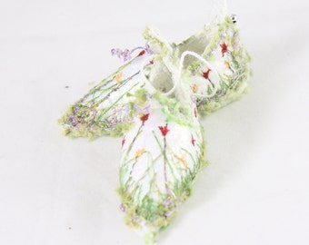 Floral Fairy shoes Elf Shoes christmas ornament red flower faerie elf shoe fairy tree decoration holiday decor Christmas Ornament