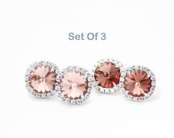 Bridesmaid Stud Earring Set Of 3, Blush Bridesmaid Earring, Stud Swarovski Earrings, Blush Wedding Gifts, Will You be My Bridesmaid Gift Set