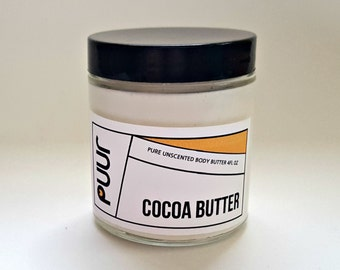 Unscented Body Butter Pure Raw Cocoa Butter VEGAN Body Cream Moisturizing Face and Body Lotion 4oz Mineral Oil Free Fragrance Free
