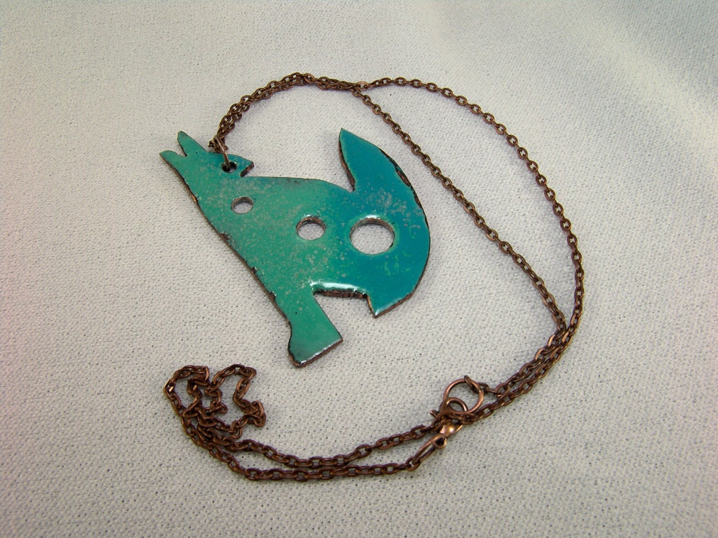dire wolf totem diz necklace in hammered copper and enamels 3
