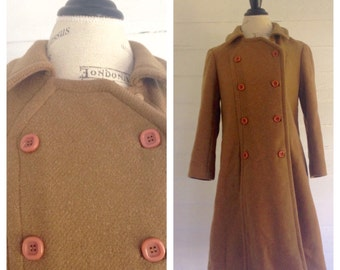 Vintage COFFEE Double Breasted Wool Coat