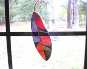 LT Stained glass Feather sun catcher light catcher multi colored rose, red, purple and green 8x2