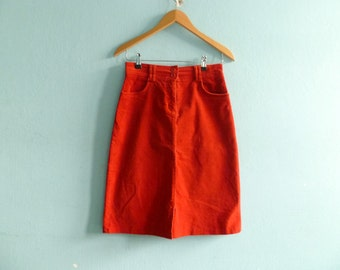 Vintage Corduroy Skirt / Orange Red / High Waisted / A Line / Below Knee / small medium