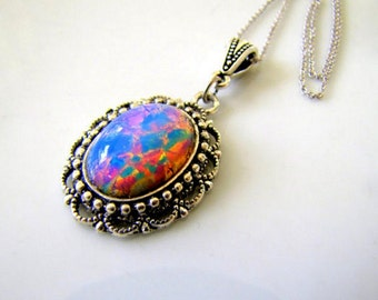 Vintage Harlequin Opal Necklace Opal Jewelry Victorian Jewelry Opal Necklace Gothic Necklace Gothic Jewelry Pink Necklace For her Under 50