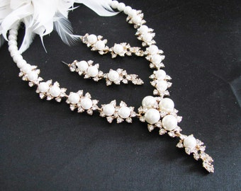 Statement Wedding Necklace in Gold tone and Cream Pearl Great Bridal Wedding Jewelry Pageant Jewelry