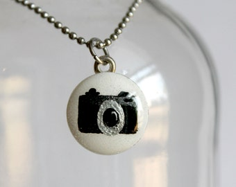 Hand Painted Mini Camera Charm Necklace
