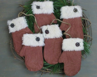 Primitive Mitten Bowl Fillers - 3 Pair - Flat Christmas Mitten Ornaments - Red Grungy Fabric - Primitive Holiday Decor