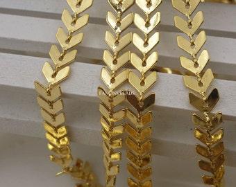 gold plating over brass 20 feet fantastic  chevron chain  F1632