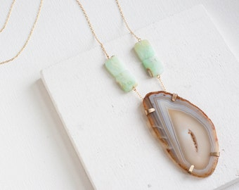 Geode + Chrysoprase Rectangle Necklace | Brass