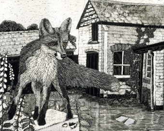 Fox in the Yard Art print from Scraperboard Original