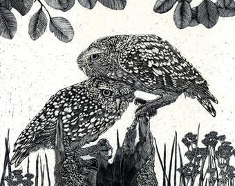 Art Card -  Two Owls on a Hollow Log - Blank from Scraperboard Original work
