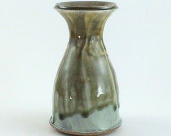 Hand Thrown Small Wood Fired Stoneware Pottery Vase (YCP640)